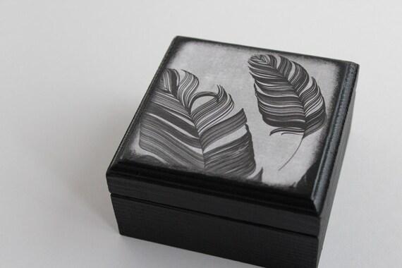Black Inked Feathers - Square Wood Box