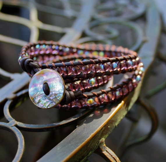 Leather Wrap Bracelet Woven with Purple - Bracelet/Anklet/Necklace 3 in 1
