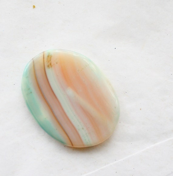 CUSTOM Stone Ring - Soft Nude with Teal