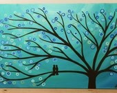 "Teal & Turquoise Tree Painting - Whimsical/Abstract Two Love Birds in a Tree Original Tree Art Painting on 30"" x 20"" Canvas"