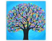 Large Blue Abstract Tree Painting