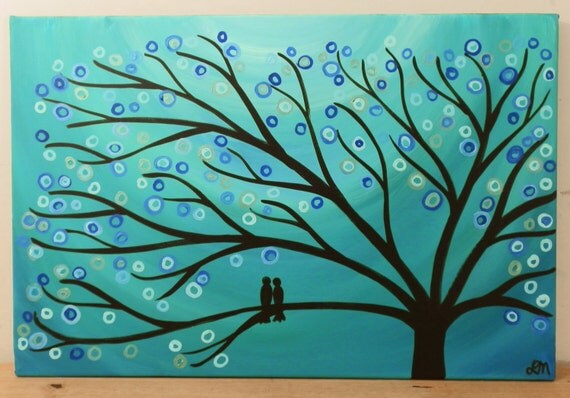 """Teal & Turquoise Tree Painting - Whimsical/Abstract Two Love Birds in a Tree Original Tree Art Painting on 30"""" x 20"""" Canvas"""