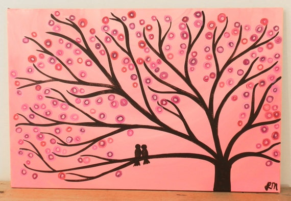 Tree Art Painting - Pink Two Birds in a Tree Whimsical Tree Art Painting - Pale Pink 30 x 20 Original Abstract Tree Painting on Canvas