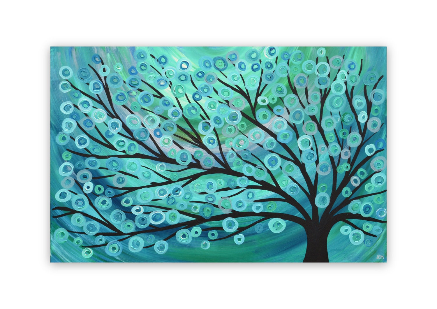 Teal Turquoise Tree Painting Canvas Painting Wall Art