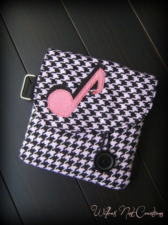 "Pink and Black ""Music Note"" Wallet is handmade from Houndstooth Fabric"