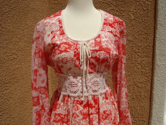 Red 70's Corset Maxi Dress