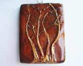 Leafy Love Sale- 15% off: Autumn Pendant- Three Trees with Copper Sky on a Silver Plated Chain