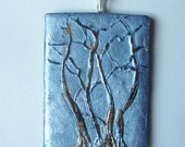 Tree Pendant : Three Trees with Iridescent Blue Sky on a Silver Plated Chain