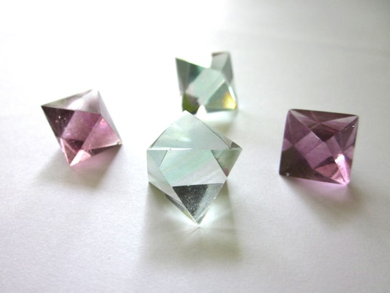 Fluorite Octahedron Cut and Polished Purple and Green 4 Stone Assortment (Lot no. 219)