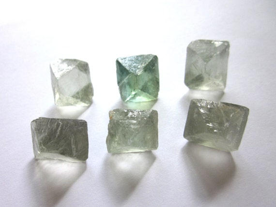 Fluorite Octahedrons Rough Raw Natural Green Blue - Set of 6 (Lot No. 391)
