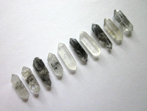 Tibetan Black Phantom, and Clear Quartz Points Lot of 10 Crystals 15-18mm - Double Terminated Rough Raw Natural Bulk (Lot No. 441)