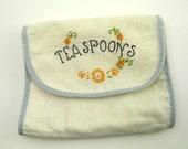 Hand embroidery vintage linens antique linens vintage flatware pouch
