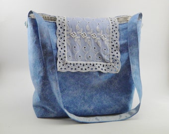 Cute handbags: Vintage style blue small tote bag or small hand bag made with vintage lace table runner