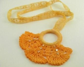 Unique handmade jewelry: Vintage inspired necklace in boho style -- tangerine orange lace crochet Swarovski crystals