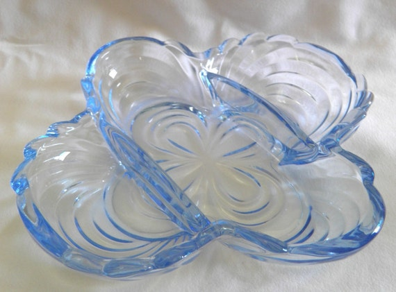 Blue glass dinnerware, Cambridge Glass, blue crystal, Caprice relish