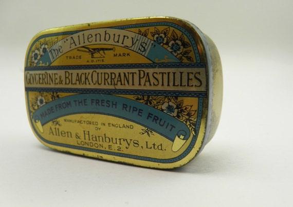 Old tin, vintage tin, antique tin, mint tin, candy tin, Allenburys
