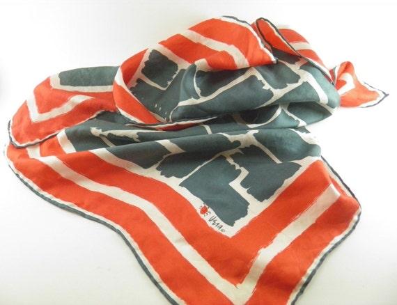 Vintage fashion scarf, red scarf, vera neumann, designer scarves