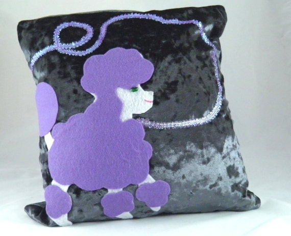 Poodle throw pillow, purple French poodle decorative pillow, OOAK