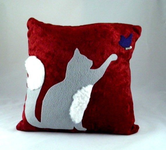 Cat throw pillow, decorative pillow, grey cat, red pillow, OOAK