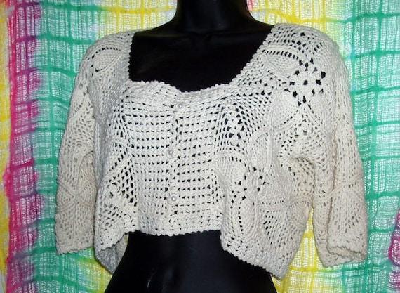 Vintage crochet cream crop top