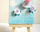 SALE-White Paper Flower Art Original, Nursery Art, 3D Art, Acrylic on Canvas, Whimsical-Blue, White, Pink