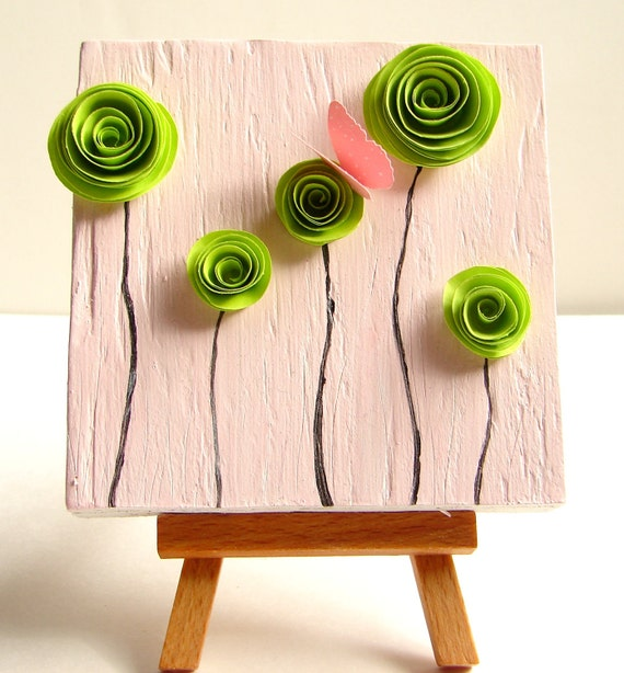 Wedding Anniversary or Birthday Gift for Her-Original Art On Upcycled Wood Block / Mixed Media