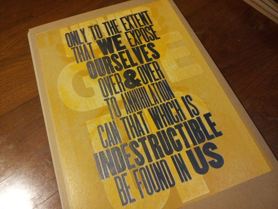 INDESTRUCTIBLE Letterpress Poster