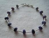 Purple Jade & Silver Bracelet  SPRING SALE