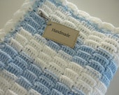 Baby Blanket Blue & White Crochet Child Stroller Carriage Size 25 x 27  Handmade FREE SHIPPING Treasury Item