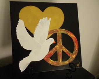 Dove Heart  Peace Sign Folk Art Painting - Table Desk Art 12 x 12 JUST REDUCED!