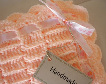 Crochet Baby Blanket  Peach Child Stroller Carriage Size 25 x 25 Brand New Handmade