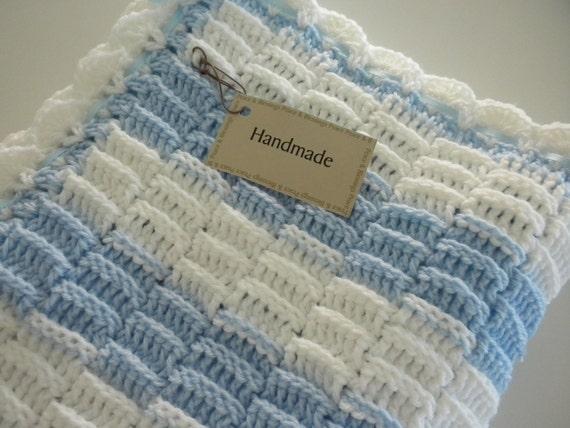 Baby Blanket Blue & White Crochet Child Stroller Carriage Size 25 x 27  Handmade FREE SHIPPING Treasury Item