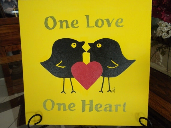 Painting One Love One Heart 12 x 12 Original Song Bob Marley Easel Included Desk/Table Art by wisdomfromabove Treasury Item - FREE SHIPPING