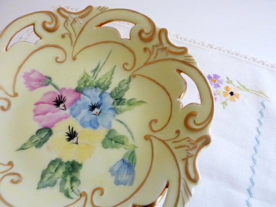 1960's Charming Pedestal Candy Compote Dish Yellow, Pink and Blue Flowers - Hand Painted
