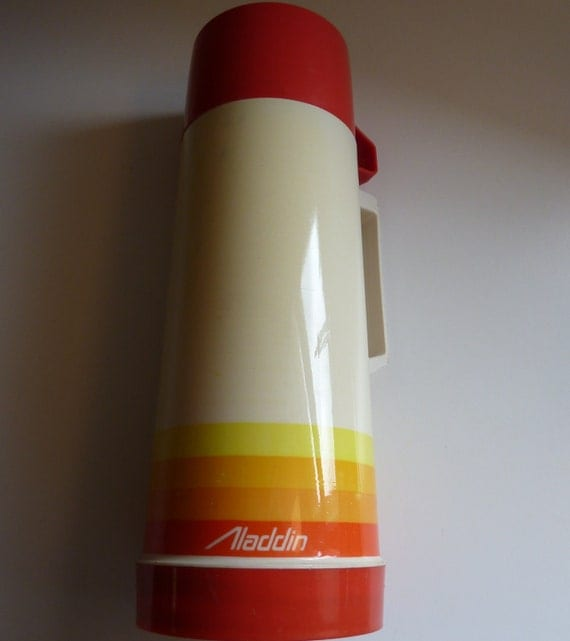 Vintage Aladdin Thermos - Funky Red Yellow and Orange