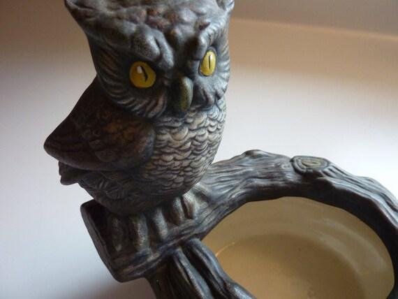 Vintage Ceramic Owl Pocket Planter - Dark Grey