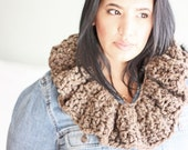 the Violet // the ruffled crochet cowl collar // Downton Abbey inspired scarf scarflette // barley brown