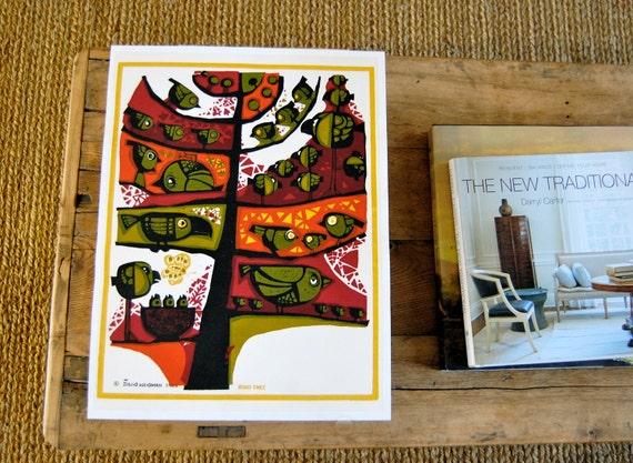 "David Weidman ""Bird Tree"" - Vintage Original Mid-Century Hand Pulled Silk Screen Wall Art - 1965"