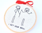 "Embroidery Hoop Wall Hanging, ""I Got Your Back,"" As seen in Glamour Magazine"