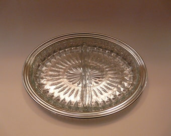 Oval Divided Glass Dish with Silver Plated Tray Vintage