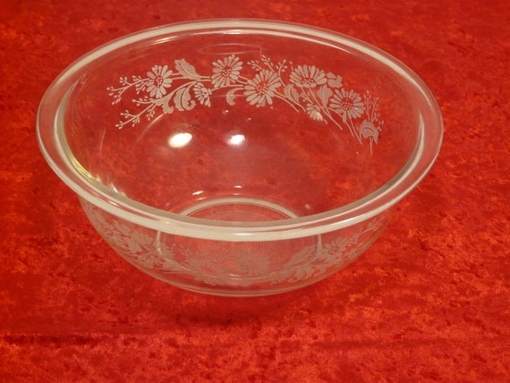 Clear Glass Floral Pyrex Bowl