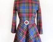 60s Plaid British Mod School Girl Dress with Belt