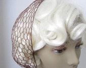 Vintage 1940s Chocolate Brown Hair Net Snood Scarf