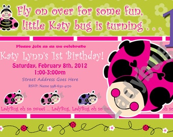 1st birthday girl invitation lady bug invitations Ladybug Invite luv bug birthday party lady bug party LadyBugs: Oh So Sweet 1st Birthday