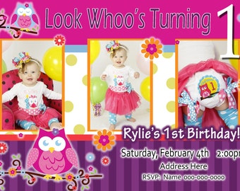 Owl Blossom Theme Birthday Invite  - OWL Theme -  Invitation Invite - Birthday Girl - Photo Picture Card