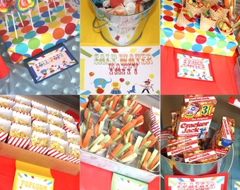 Carnival Birthday Party Signs Circus Signs Games sign Prizes signs table place cards Food Labels Editable Word/non-editable PDF Small Medium