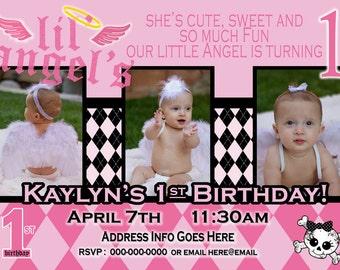 Lil' Angel Invite - lil Angel Party 1st Birthday Girl - lil angel Birthday Party Invitation  - Angel invitation Princess Invite
