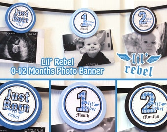 Lil Rebel Photo Banner 12 months photo banner Lil Rebel Boy Banner 1st year Lil Rebel Banner Digital File DIY Printable PDF