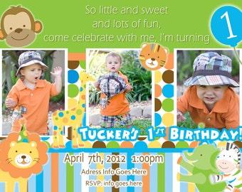 Sweet Safari Invite Boy Invitation - 1st Birthday Party Invitation - Jungle Birthday Safari Birthday  Jungle party Safari Birthday Lion