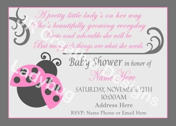 shower girl baby shower invite ladybug invite lady bug invitation pink